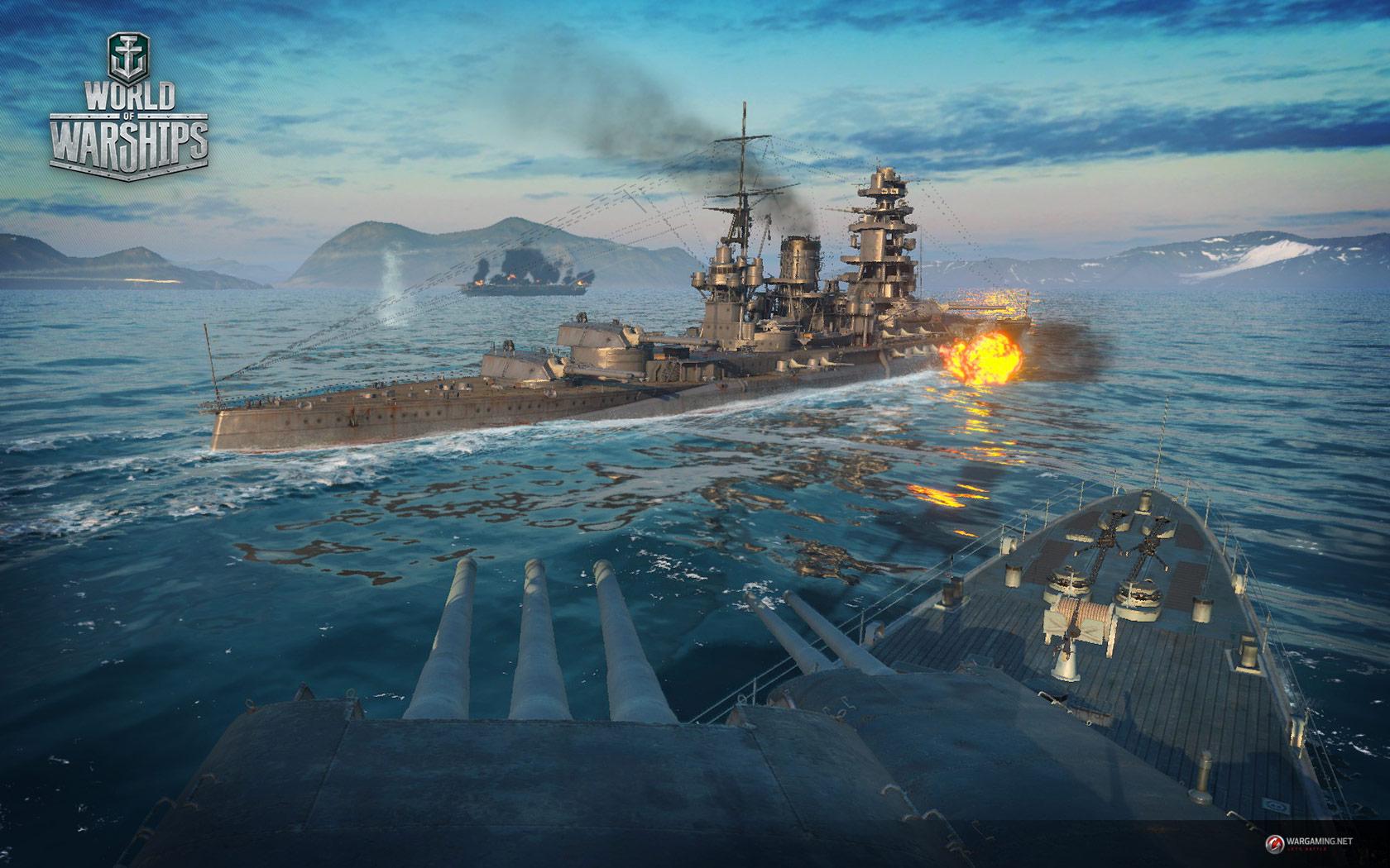 Обои мир кораблей, wows, wargaming net, выстрел, wg, пламя. Игры foto 19